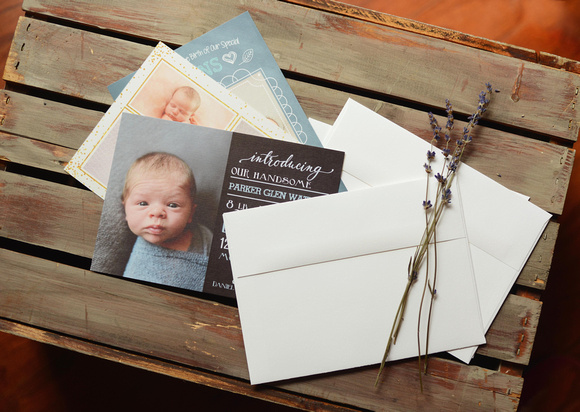 birth announcement are included with all newborn portrait sessions.  Raleigh, Cary, Holly Springs NC photographer