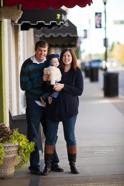A fall family photo session featuring downtown Apex, NC, by Erica Courtine Photography.