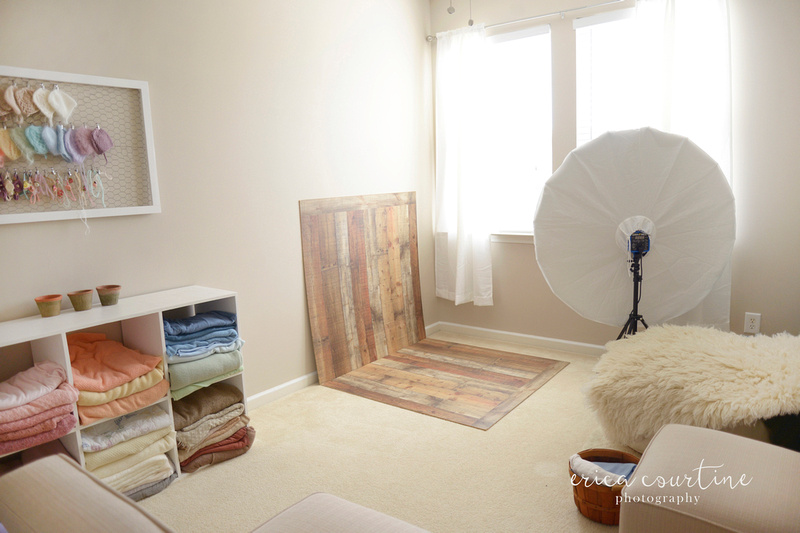 Raleigh nc newborn photographer shows how to create a photography studio in a very small space.