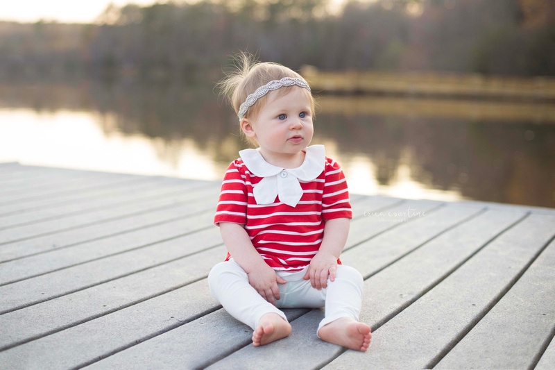 A sunset baby photo session at bass lake park in holly springs, nc.