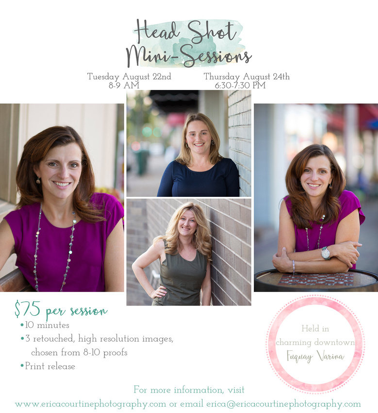 Professional head shot mini-sessions held in downtown Fuquay Varina by photographer Erica Courtine in August 2017.