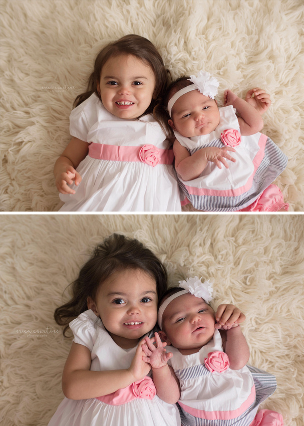 Two sisters pose during a newborn photo session outside of Raleigh NC at a studio in Fuquay Varina.