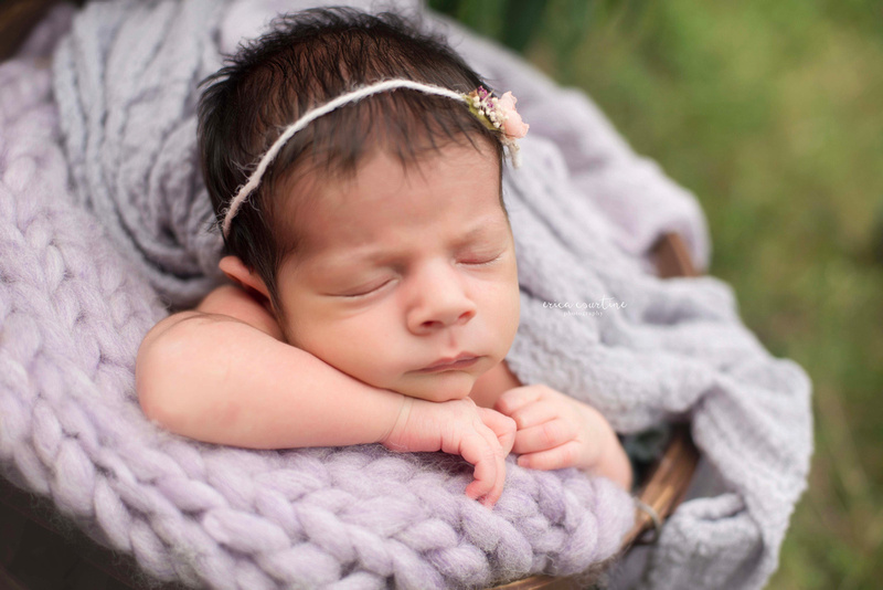 Outdoor newborn photography session at raulston arboretum in raleigh nc