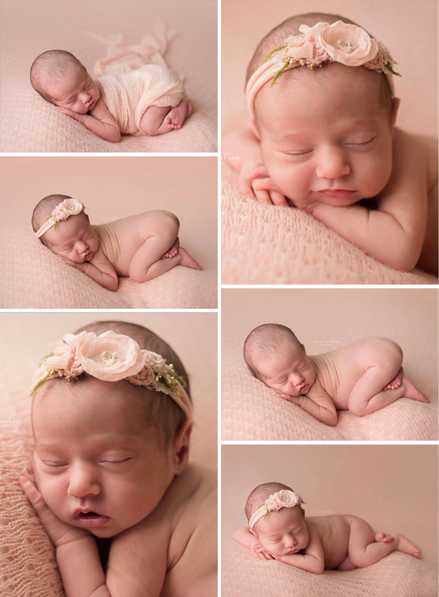 Pale pink in a newborn photography session with a baby girl in Raleigh, NC.
