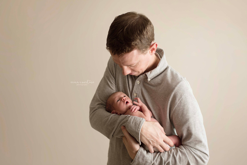 Newborn photography poses with daddy Raleigh NC
