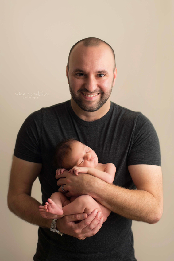 Daddy and baby girl- Neutral, natural organic newborn photography raleigh nc
