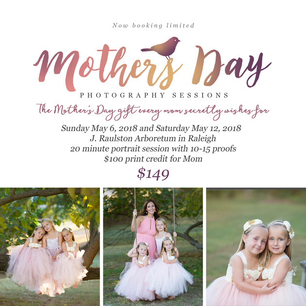 Raleigh nc raulston arboretum mini-sessions for mother's day unique best gifts for mom