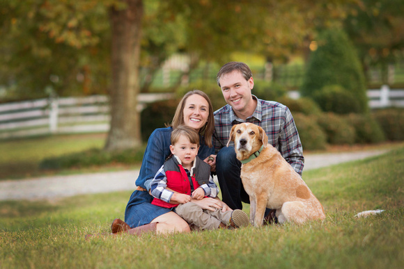 raleigh cary nc family photographer a portrait with the family dog at historic oak view county park