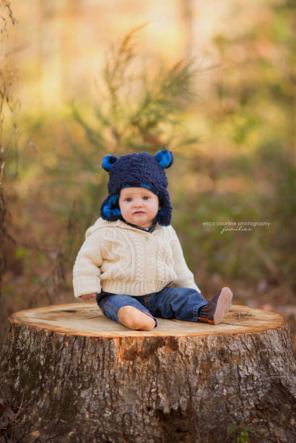 A little boy on a stump at Seagroves Farm Park in Apex, NC, during a family photo session.