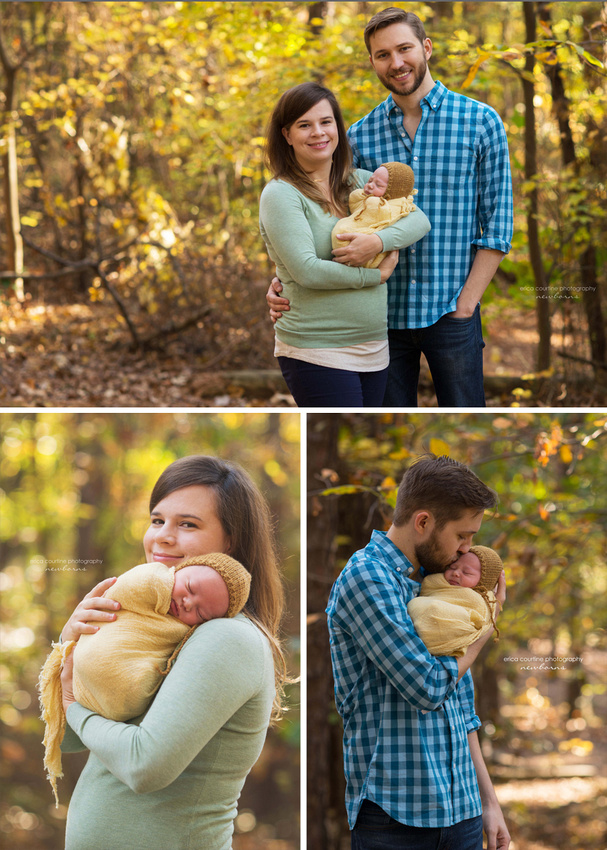 A new mom and dad pose with their newborn baby boy among beautiful fall leaves in Raleigh NC during a newborn photography session.