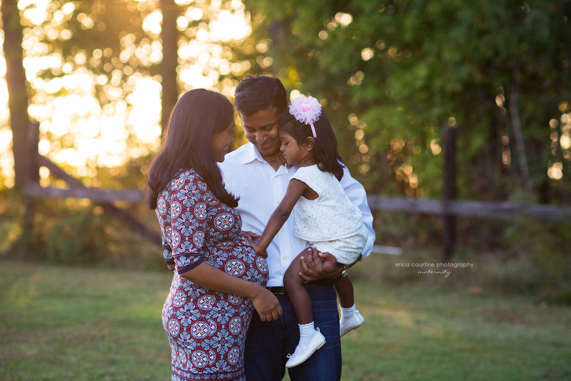 A family awaits a new baby during a maternity photography shoot in Holly Springs, NC with Erica Courtine Photography.