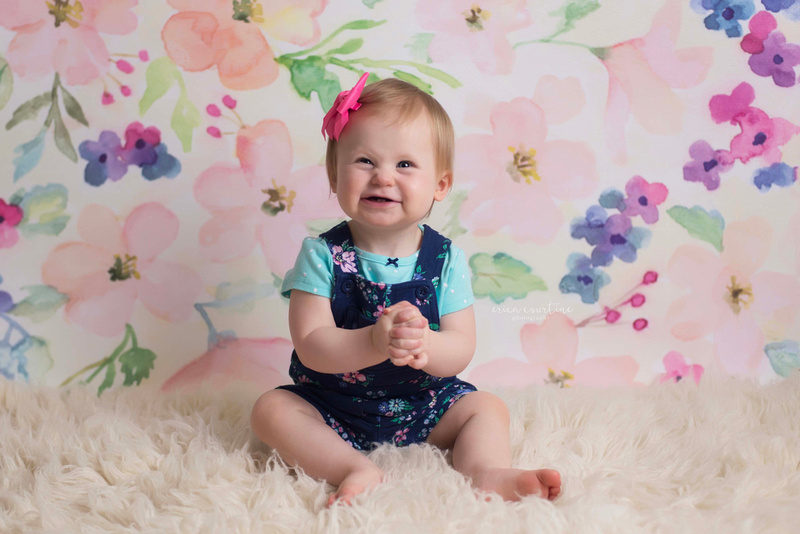Baby's first birthday session at a studio in Fuquay Varina, just outside of Raleigh, NC.