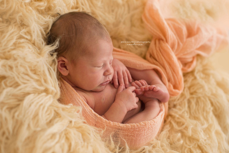Baby girl during newborn photo session in Fuquay Varina, NC.