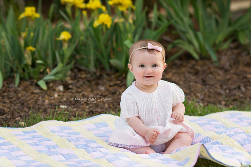 Raleigh Cary Apex Holly Springs Fuquay Varina Spring Baby Photography Session at Raulston Arboretum.