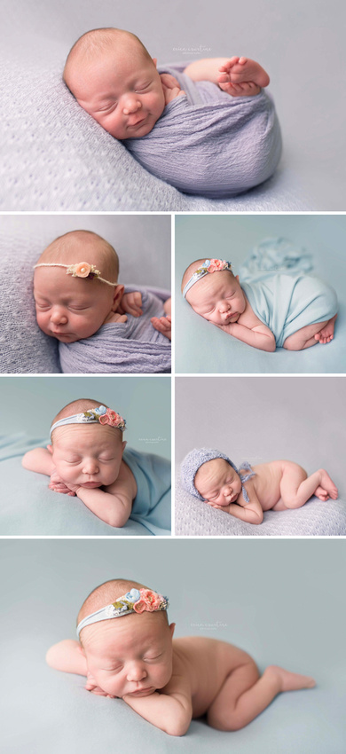 Pastel blue and lavender during a baby girl newborn photography session in Raleigh, NC.