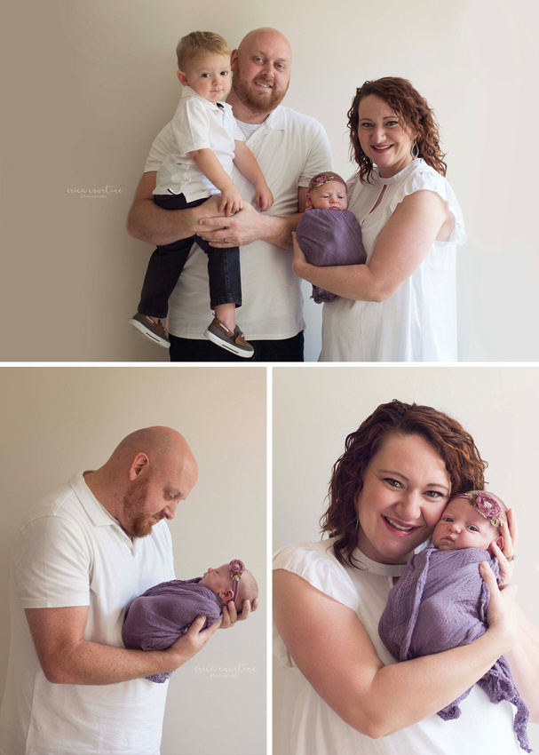 A family poses with their newborn baby girl during a photography session at a studio in Fuquay Varina, just outside of Raleigh, NC.