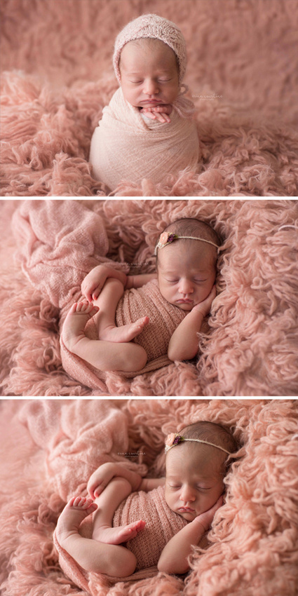 Progress of a newborn photography session.  Baby girl posed on a flokati at a newborn photography session in Raleigh NC.