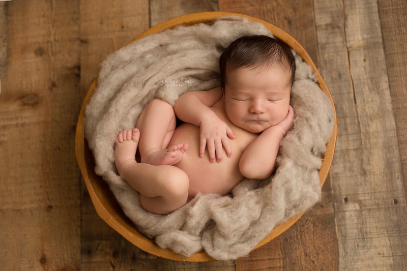 Raleigh nc newborn photography fall baby portraits at a studio in fuquay varina baby in a bowl