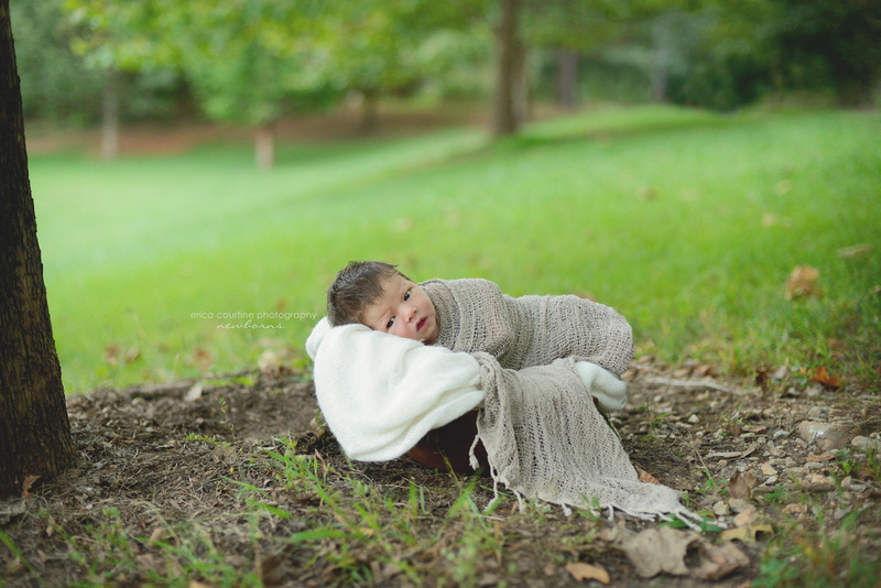 Cary apex nc newborn photographer takes portraits of newborn babies outdoors at crowder park to create