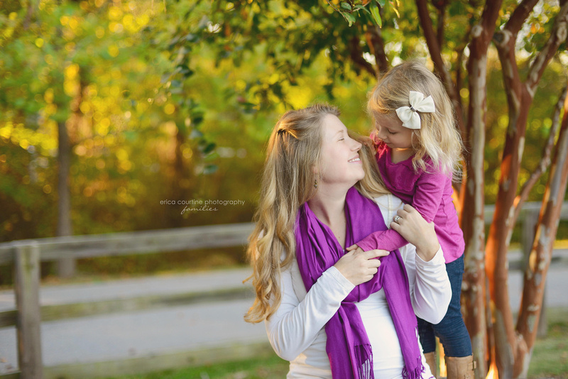 A mother and daughter during a family photography session with Erica Courtine Photography in Raleigh, NC.