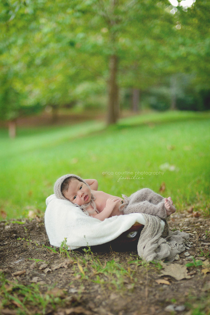 cary apex nc newborn photographer takes portraits of newborn babies outdoors at crowder park to create a natural, organic style of newborn portraiture.