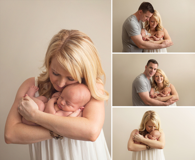 A mom and dad hold their newborn son during a photography session at a studio in Fuquay Varina, outside of Raleigh, NC.