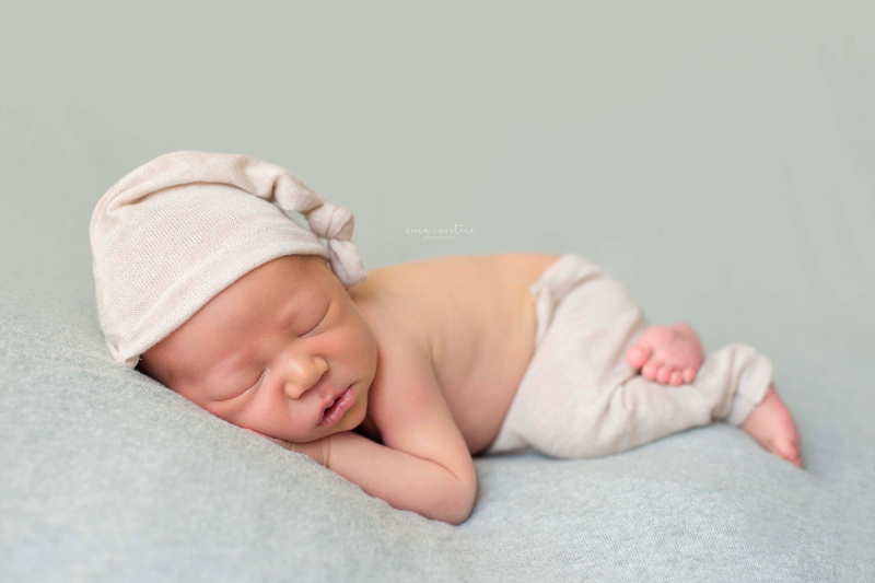 beautiful newborn boy during a photo shoot in Fuquay Varina near Raleigh NC.