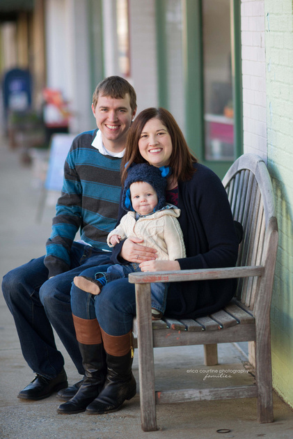 A fall family portrait session featuring downtown Apex, NC, by Erica Courtine Photography.