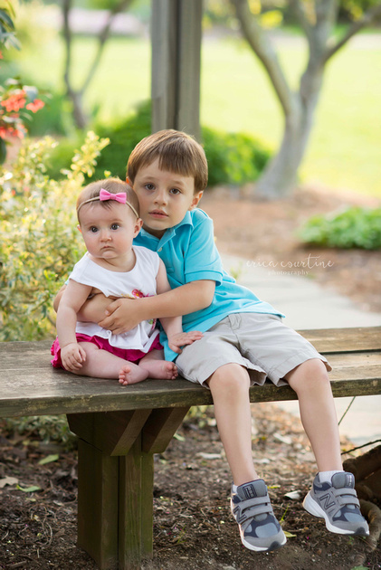 Raleigh Family Photographer digital packages with print release - a brother and sister at Raulston Arboretum