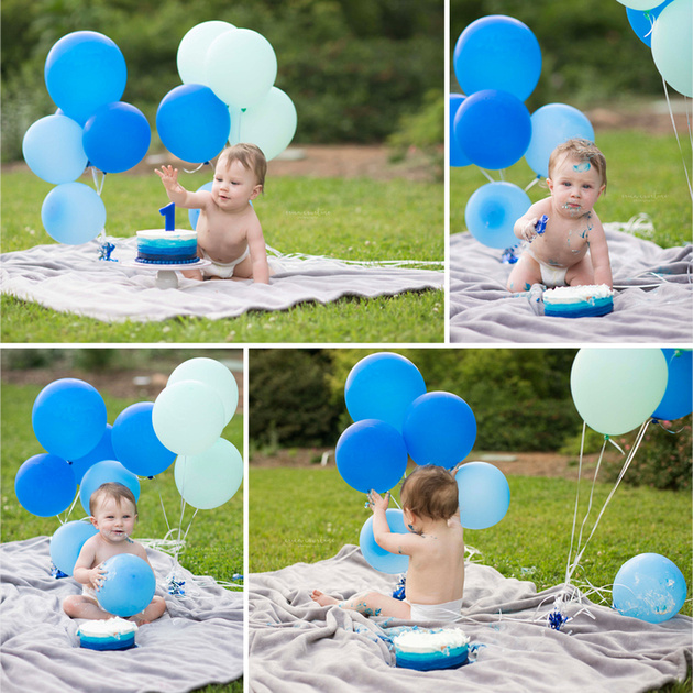 A baby boy with a blue themed cake smash at a garden in Raleigh NC, by photographer Erica Courtine.